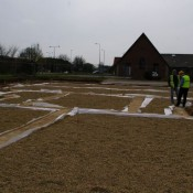 Marking out the site in late April 2008